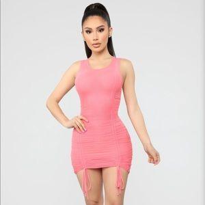Fashion nova coral ruched mini dress